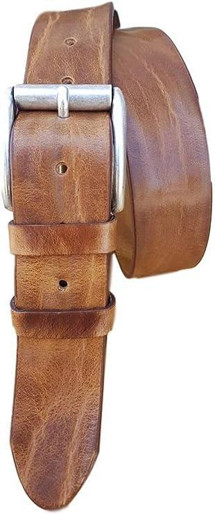 Cintura vero Cuoio artigianale unisex lavorazione vintage a mano 4 cm