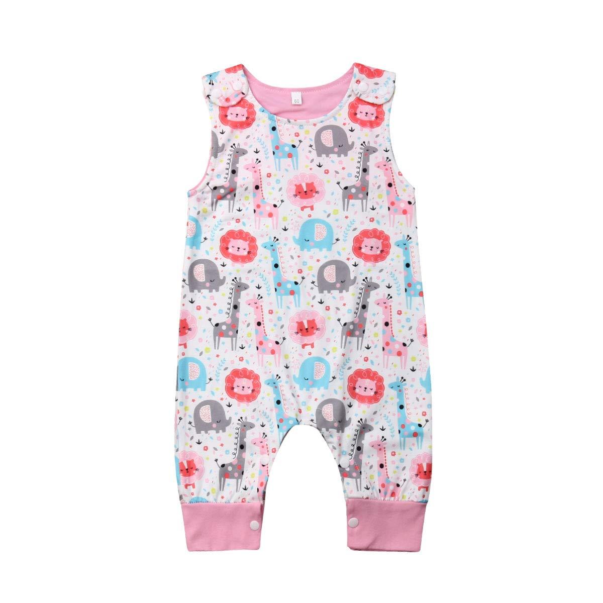 Newborn Baby Boys Girls Animal Dinosaur Romper One Piece Jumpsuits Sleeveless Summer Outfits