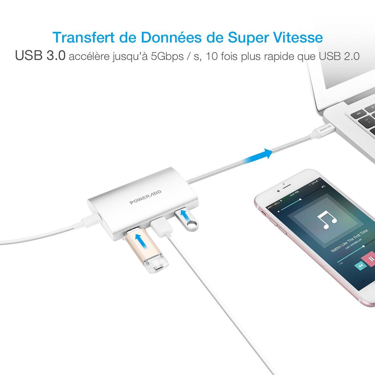 Poweradd Hub USB Type-C Réseau Adaptateur 3 Ports USB 3.0 avec un Port PD 2.0, puissance de Charge pour pour le MacBook Air, MacBook Pro, Mac Mini, Google Chromebook -Argent