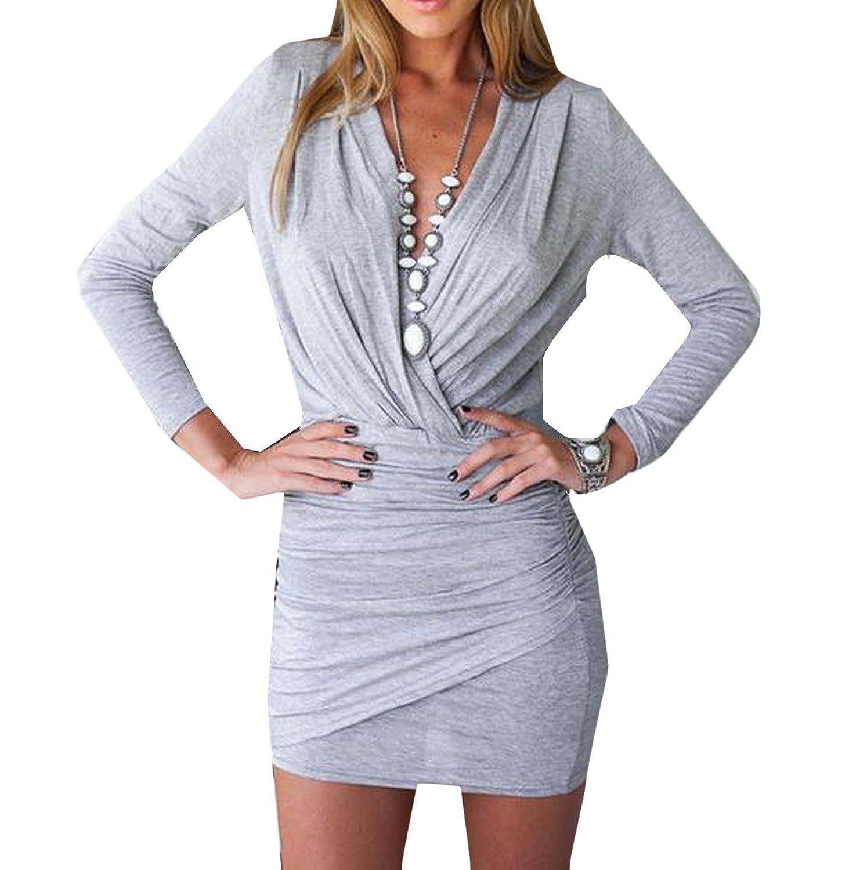 Sheng Xi Women V Neck Long Sleeve Solid Slim Package Hip Dress