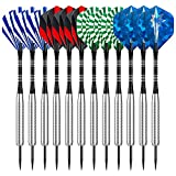 Sametop 12 Packs Steel Tip Darts Set 22 Grams Flights, Aluminum Shafts, Nickel Silver Barrels and Dart Sharpener