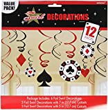 Casino Foil Swirl Hanging Party Decoration, Value Pack of 12 Pieces