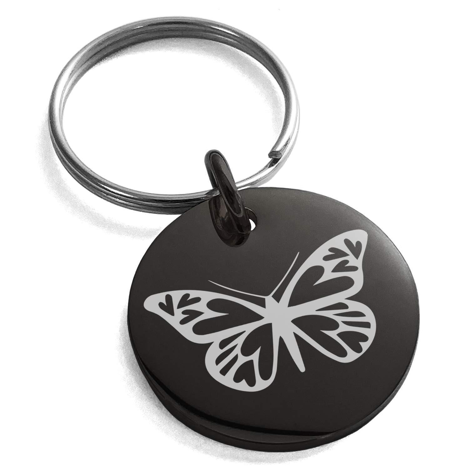 Tioneer Black Stainless Steel Love Butterfly Engraved Small Medallion Circle Charm Keychain Keyring