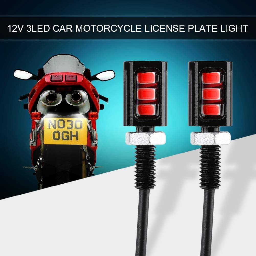 Universal 12V LED Waterproof Screw Bolt Lights For Car Truck ATV Motorcycle Bike SUV RV White Keenso 2pcs 3LED License Plate Light