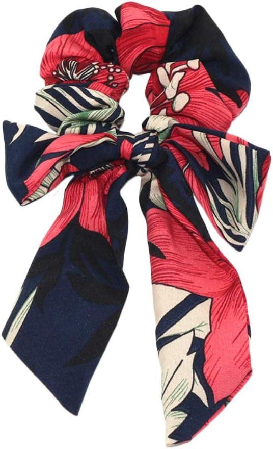 Qinlee – Bufanda de pelo con flores vintage, lazo, scrunchies, gasa de satén, cola de caballo, con polaco, boho, adorno para el pelo, cuerda de seda para mujeres