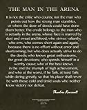 framed inspirational quotes - 11x14 Words of Wisdom by Theodore Roosevelt - The Man In The Arena- Archival Art Card Print