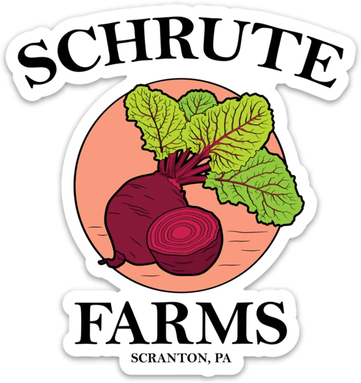 "Schrute Farms Beets Office - Vinyl Sticker Waterproof Decal 4"" for Laptop, Waterbottle etc"