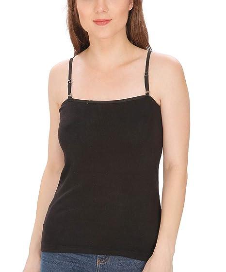 5f8c1fb766a452 ShopOlica Modal Camisole with Detachable Strap Black Colour Spaghetti for  Women Tank Top