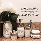 Distressed Mason Jar Bathroom Set