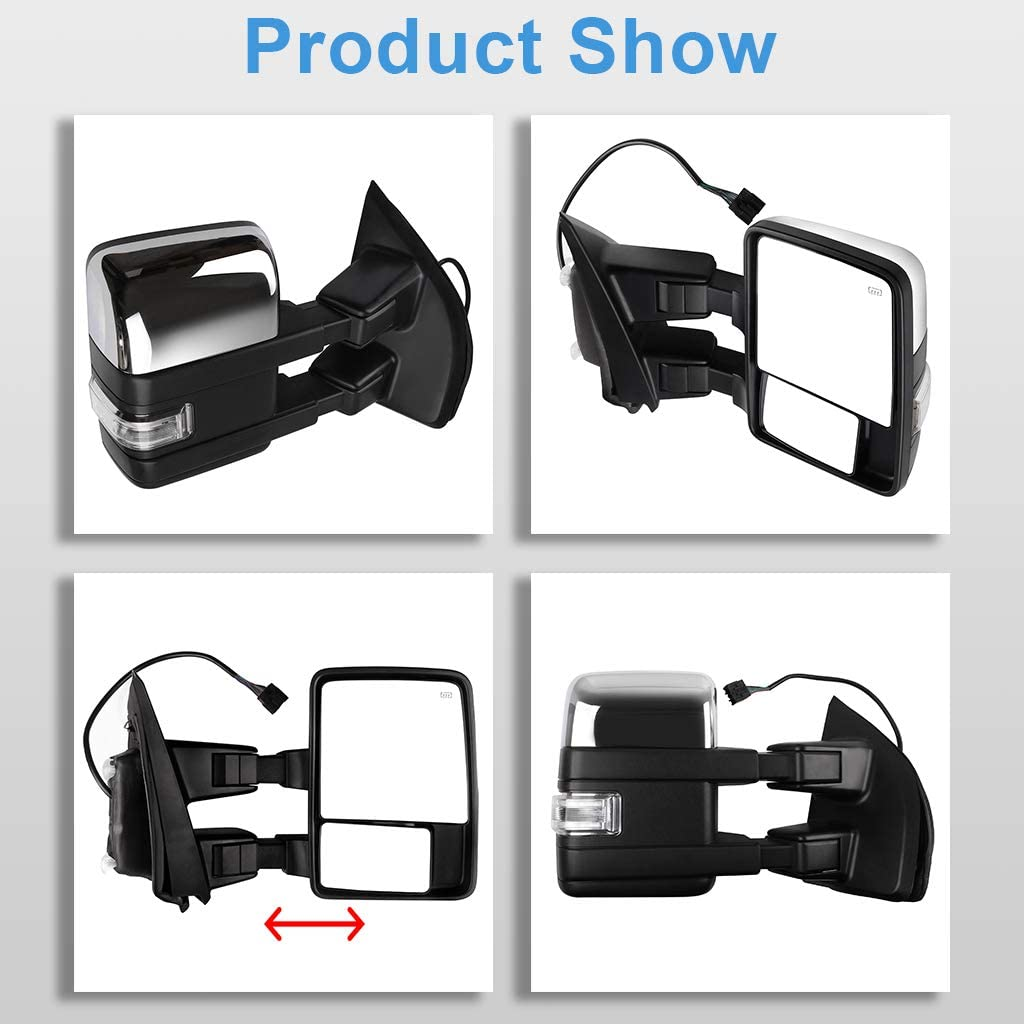 ECCPP F150 Towing Mirrors A Pair of Exterior Automotive Mirrors Replacement fit 2015-2017 Ford F-150 with Auxiliary//Puddle//Clearance Lights Signal Indicator and Power Operation Heated Chrome Housing