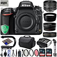 Nikon D750 24.3MP 1080P DSLR Camera w/ Wi-Fi & GPS Ready + 4 Lens - 21 to 100mm - 128GB - 30PC Kit + Nikon 50mm 1.8D + Opteka 10X Macro + 2.2X Tele + 0.43x Wide/Macro + 3 Year Warranty