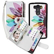 Wallet Case for LG G3, xhorizon TM SR Premium Leather Folio Case Wallet Magnetic Detachable Purse Multiple Card Slots Case Cover for LG G3 - Sunflower