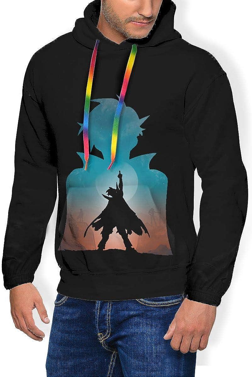 Gurren-Lagann Mens Winter Jacket Clothes Plus Velvet Long Sleeve Hooded Sweat Shirt Pullover