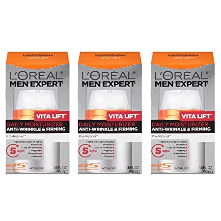 L Oreal Paris Skin Care Men Expert Vita Lift Anti-Wrinkle and Firming Daily Moisture, 1.6 Ounce, 3 Count