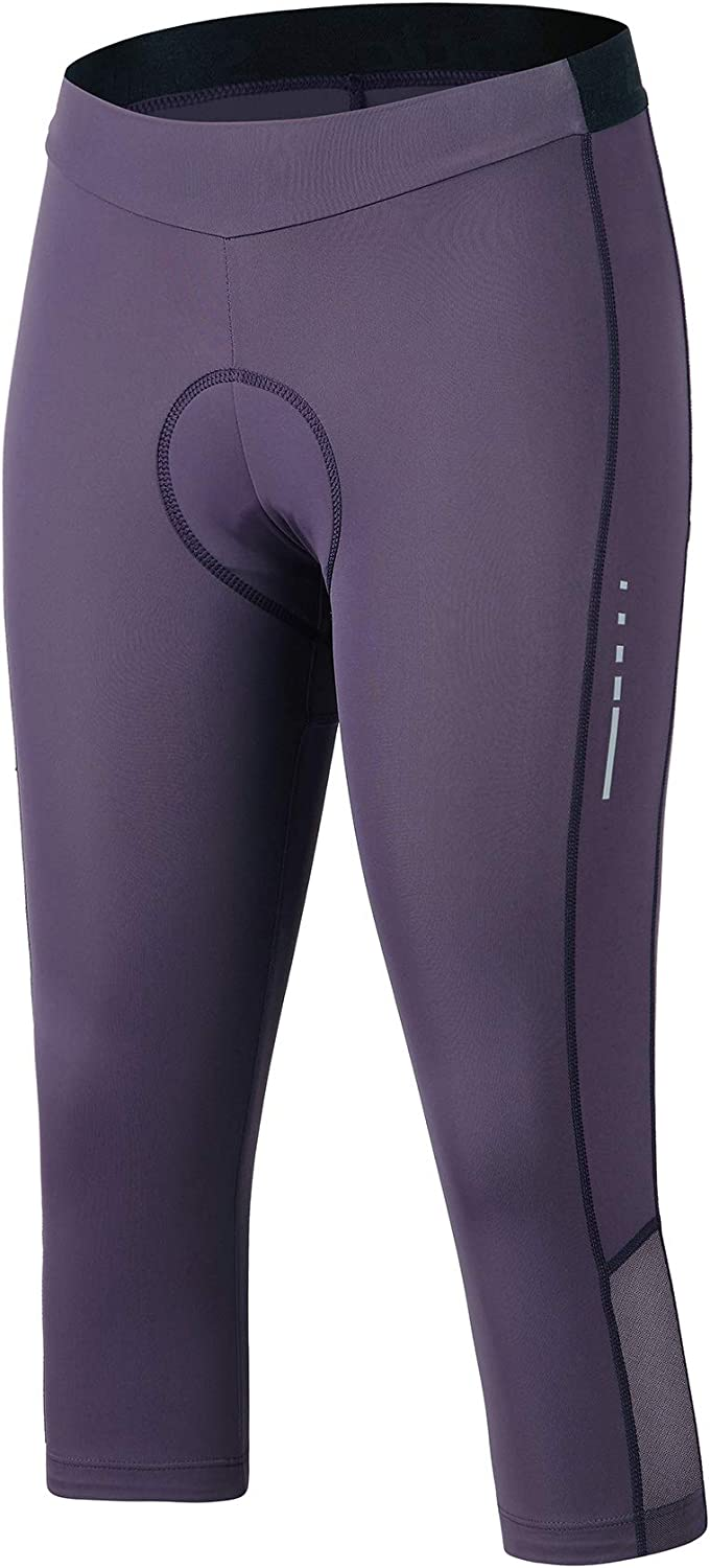 Santic Women's 3D Padded Compression Cycling Tights 3/4 Pants Wide Waistband Black