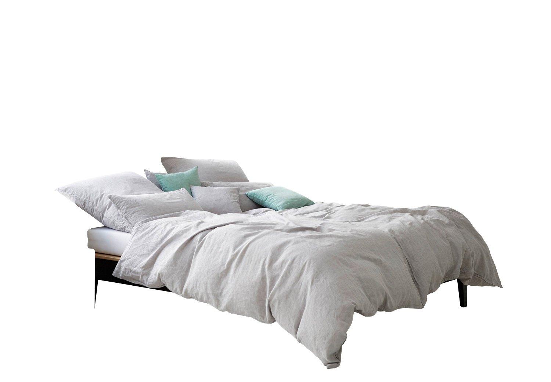Elegante Bettwäsche Breeze Halbleinen Buntgewebt Grau Größe 135x200