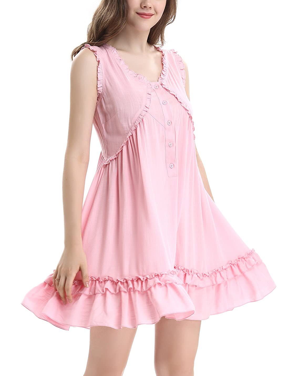 28ba54da8517 Sleeveless Nightgown Women Nighties Button Front Nightdress OY031 Victorian  Vintage Nightshirt Sleepwear NORA TWIPS Ladies Summer Nightwear