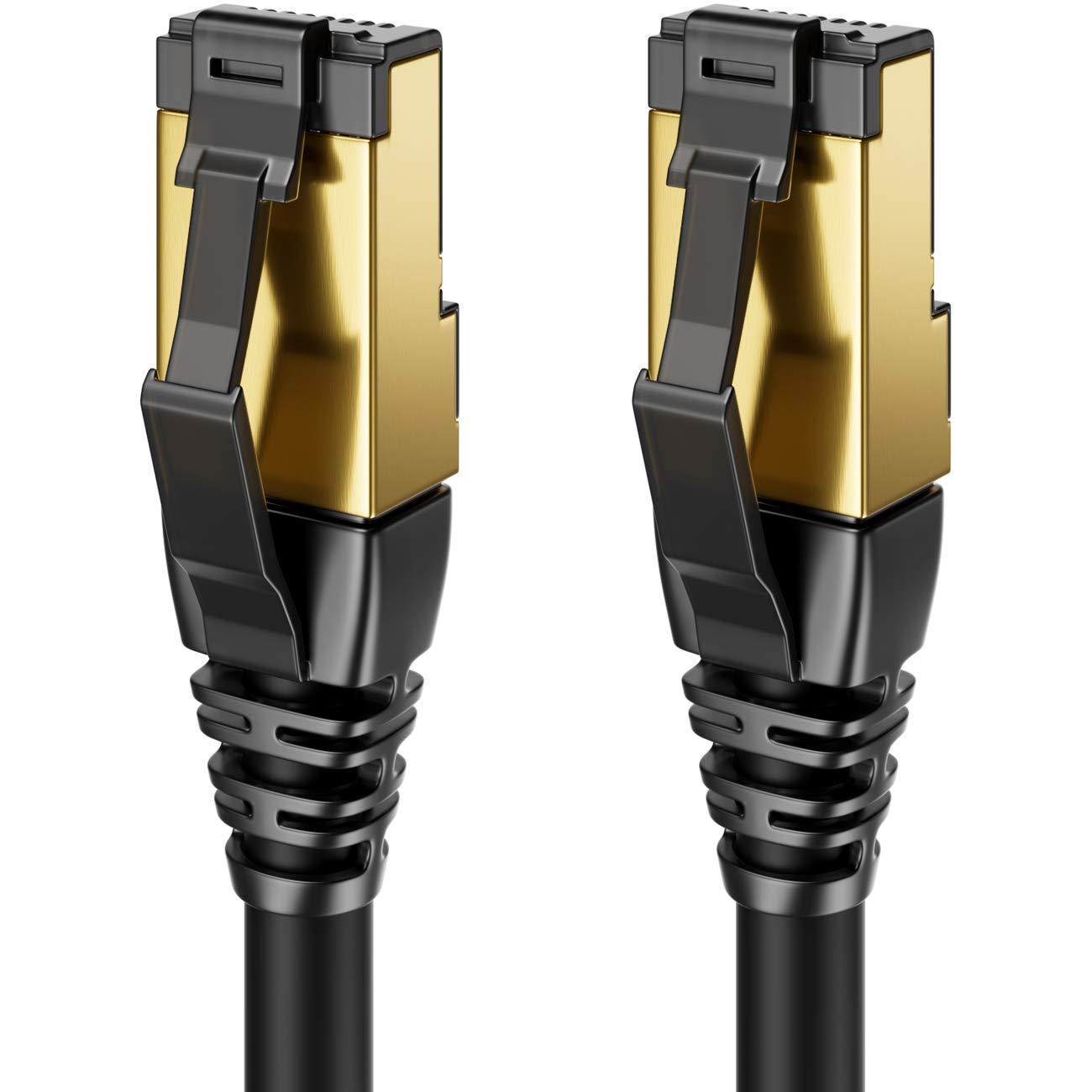 deleyCON 7,5m CAT8 Cavo Patch Cavo di Rete RJ45 LAN Cavo DSL Senza Alogeni Schermatura F//FTP 2000MHz 40Gbit Cat.8 Cavo Ethernet Spina RJ45 Dorato Nero
