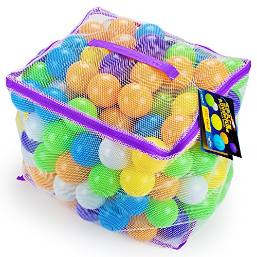 200 Space Adventure Giant, Safe Ball Pit Balls with Fun Illustrations | Includes Mesh Carrying Case