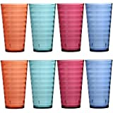 Splash 19-ounce Premium Quality Plastic Water Cup Tumblers | Set of 8 in 4 Assorted Colors