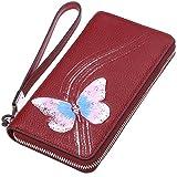 PIJUSHI Designer Floral Wallet Women's Genuine Leather Clutch Wristlet Wallet (1058-Red)