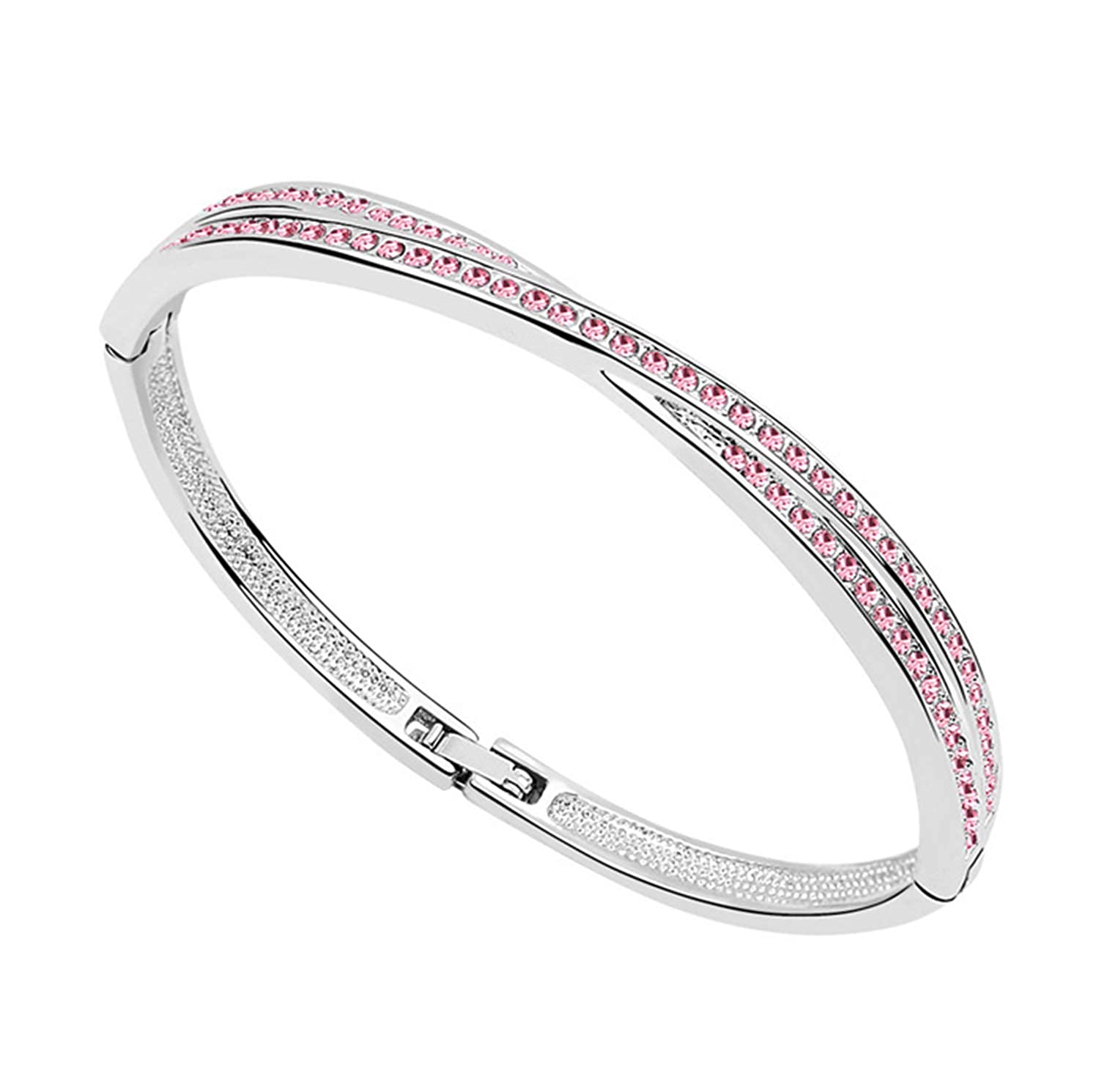 Rhinestones Circle Cuff X Bracelet Bangle Fashion Jewelry Free Charms Women Cute Romantic Lover Gift Quality AAAA