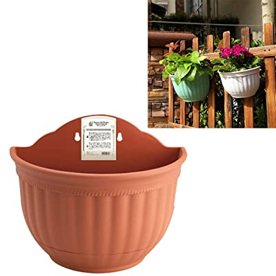 YAZHI-MILA Gardening Tool Supplies Wall Hanging Pots Semi-Circular Imitation Ieather Wall Hanging Basin Indoor and Outdoor Potted Pots Random Color Delivery: Home & Kitchen