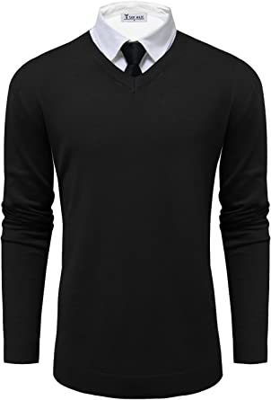 PULLOVER SWEATER S-4XL WRINKLE RESISTANT V-NECK MEN/'S CLASSIC FIT 100/% COTTON