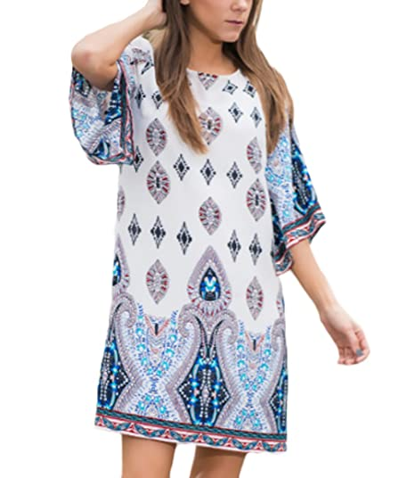 Mujer Vestidos Verano Elegantes Cortos Estampados Patrones Boho Etnicas Lindo Chic Estilo Vestido Playa Manga Corta
