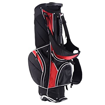b0b0cbc38f Image Unavailable. Image not available for. Color: MD Group Golf Stand Cart  Bag w/ 6 Way Divider Carry Pockets, Red