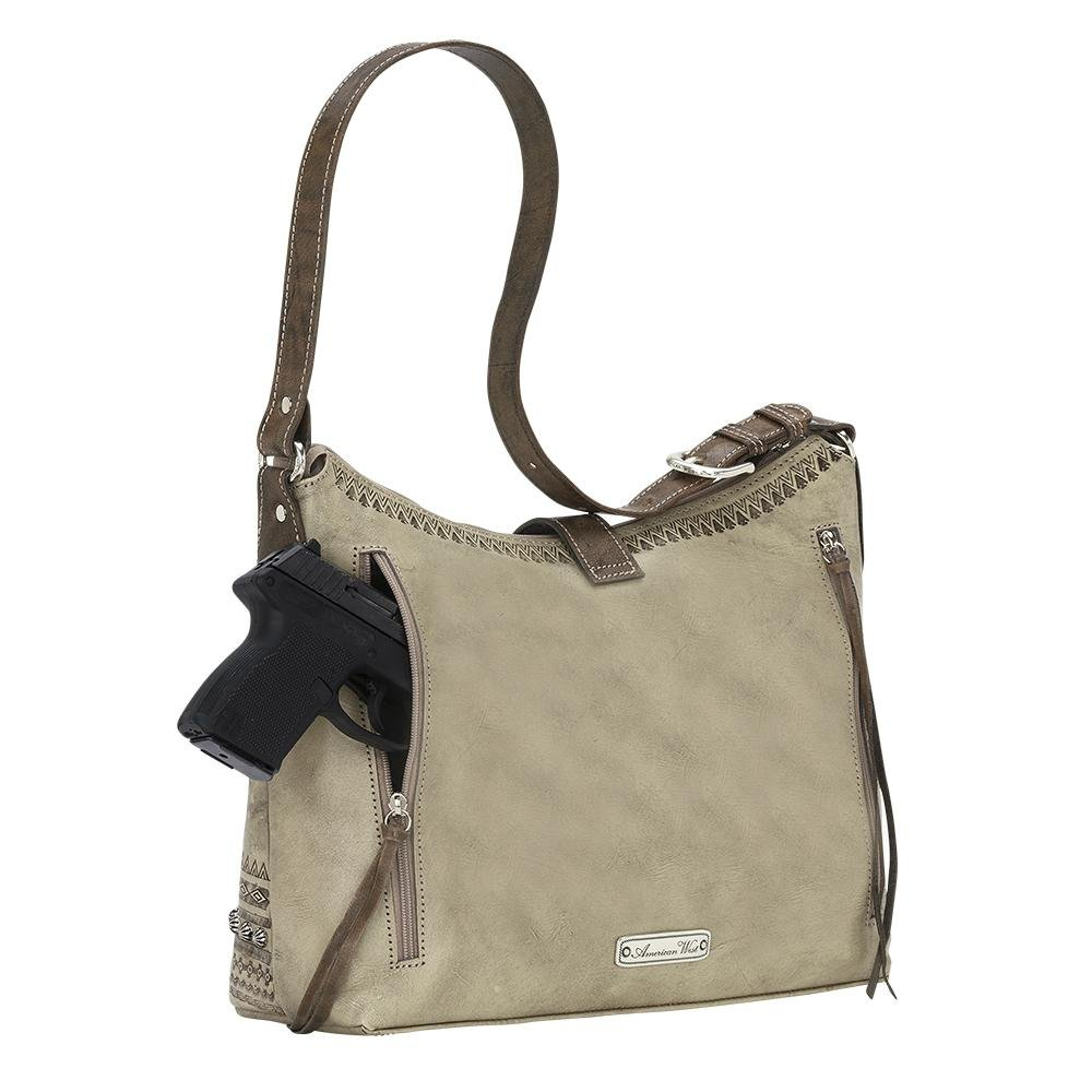 American West Women's Trading Post Large Zip Top Shoulder Bag Sand One Size by American West (Image #2)