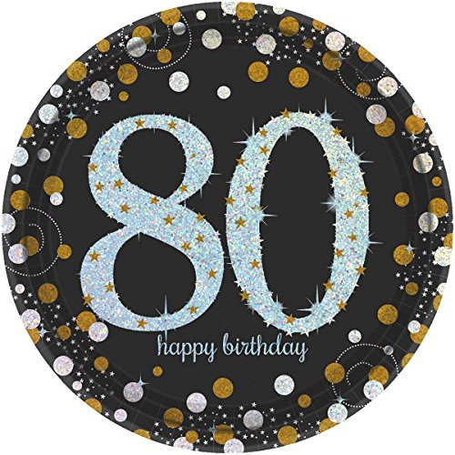 80th Birthday Party Supplies, Black and Gold, 16 Guests, Sparkling Celebration Design, Bundle of 4 Items: Dinner Plates, Dessert Plates, Lunch Napkins and Beverage Napkins