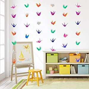 Glitter Rainbow Premade Origami Paper Cranes Garlands for Kids Birthday Rustic Wedding Birds Party Supplies Hanging Party Streamer Decor for Baby Shower/Tea Party/Valentine's Day 5Strings 75Pcs