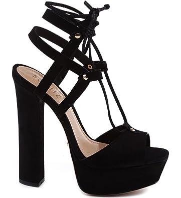 3d383979fcb98 Amazon.com: SCHUTZ Manuella Black Suede Super High Heel Tie Up ...