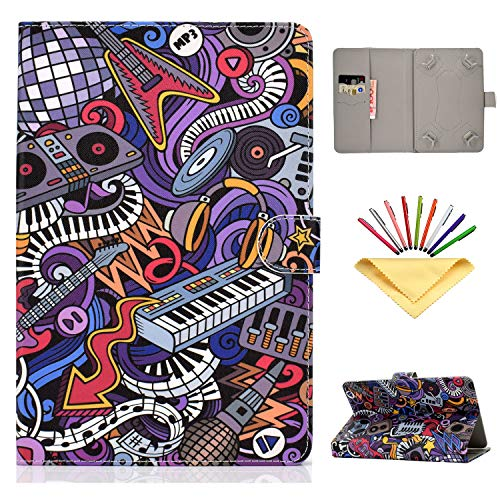 Universal Case for 8 inch Tablet, Uliking 7.5-8.5 inch Tablets Cover for Lenovo/HP/LG/Asus/MediaPad for Samsung Galaxy Tab A 8.0/Tab E/4/S2 8.0, for Apple iPad Mini 5/4/3/2/1 7.9 inch, Music Graffiti (Tablet Case Hp 8)