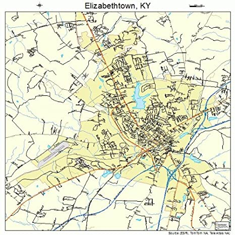 Amazon.com: Large Street & Road Map of Elizabethtown, Kentucky KY ...