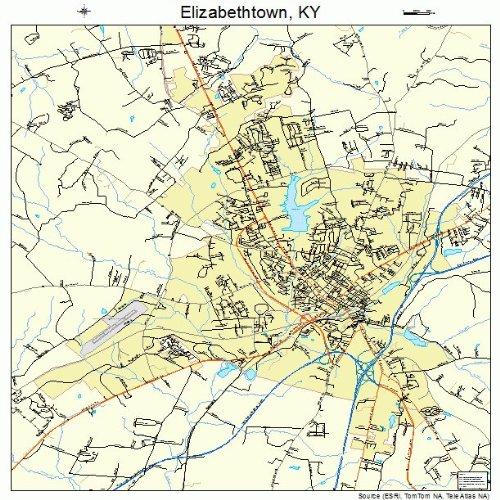 Amazon.com: Large Street & Road Map of Elizabethtown, Kentucky KY ...