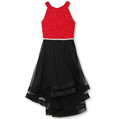 275324d19e Amazon.com  Speechless Girls  Big 7-16 Tween Formal Dance Or Party Dress  with Wide Ribbon Hem  Clothing