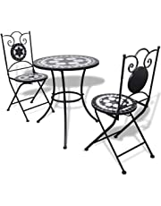 3 Piece Patio Porch Bistro Garden Table & Chairs Set Mosaic Chic Black and White