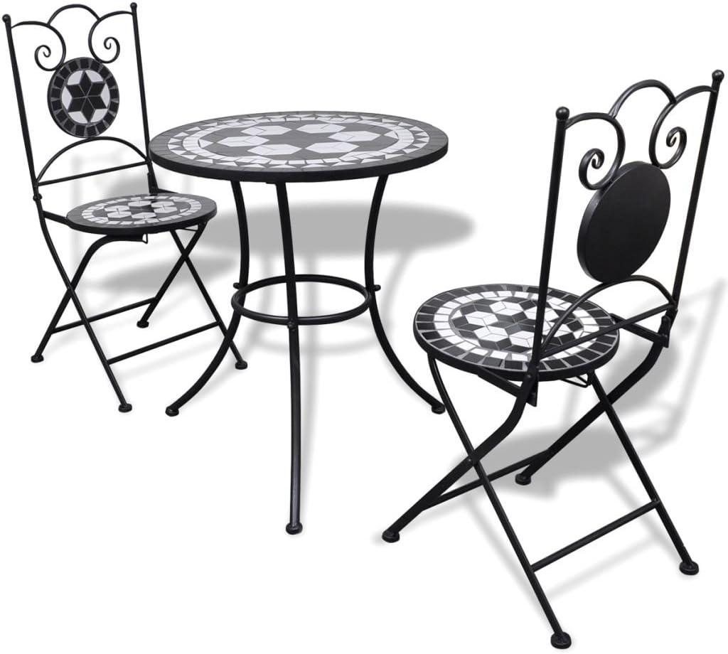 Tidyard Conjunto de Mesa y 2 Sillas de Jardín con Mosaico,Conjunto de Comedor de Jardín 3 Piezas para Jardín Terraza Patio,Marco de Hierro,Estilo Romántico,Negro y Blanco