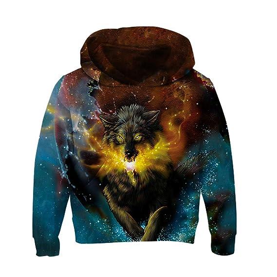 RAISEVERN Unisex Kinder Jungen Mädchen Lustig Hoodies Kapuzenpullover Coole 3D Grafik Drucken Sweatshirts Galaxy Langarm Swea