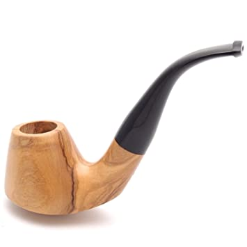 Mr  Brog Smoking Pipe - Olive Bent Natural - Italian Olive Wood - Hand Made  Tobacco Pipe