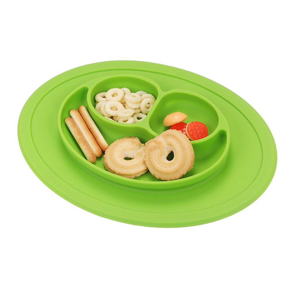 Rocita Baby gr/ün Teller Sch/üssel Tischset Kinder Platzmatte Babyteller Kinderteller aus FDA-zertifiziert Silikon
