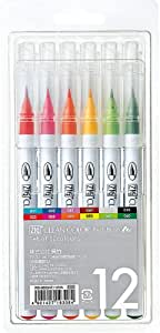 Kuretake ZIG CLEAN COLOR Real Brush 6 Colors set A, AP-Certified, Flexible Brush Tip, Professional quality, Odourless, Xylene Free, Easy to creat narrow and wide lines, Made in Japan