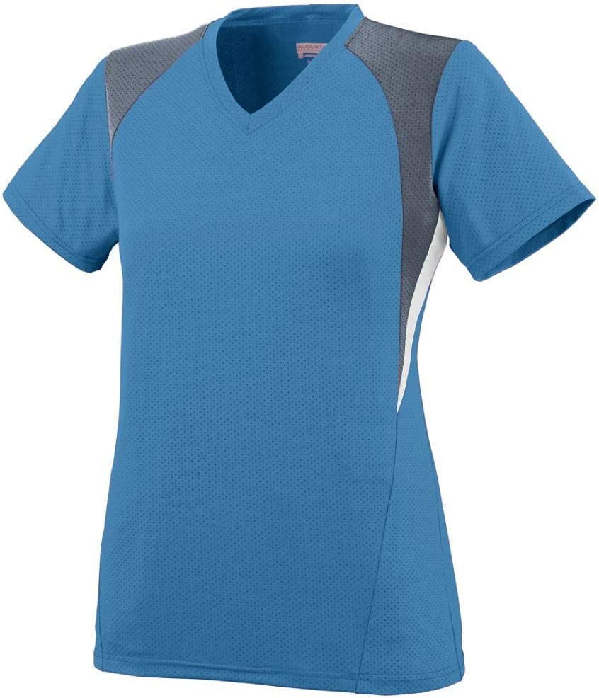 Augusta Sportswear Girls' Mystic Jersey L Columbia Blue/Graphite/White