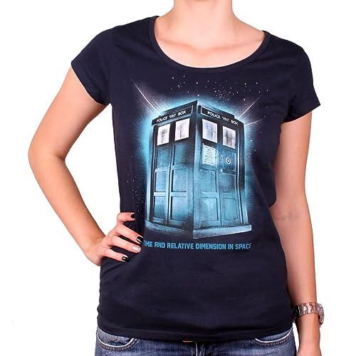 El doctor Who Tardis damas Camiseta Espacio para algodón azul serie