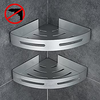 Gricol Bathroom Shower Corner Shelf Triangle Wall Shower Caddy Space  Aluminum 3M Adhesive No Damage Wall