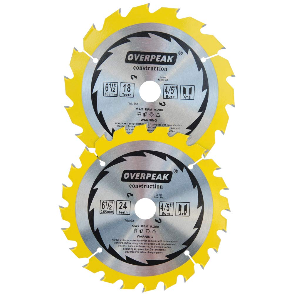Overpeak 6-1/2-Inch Circular Saw Blade with 18 and 24 Tooth Cutting Precision Finishing Woodworking Saw Blades, for Soft&Hard Wood Cutting, 2-Pack