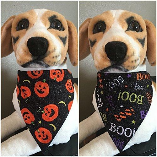 Halloween Reversible Pet Bandana Pumpkin Jack-O-Lanterns and Boo Font Over The Collar Dog Cat ()