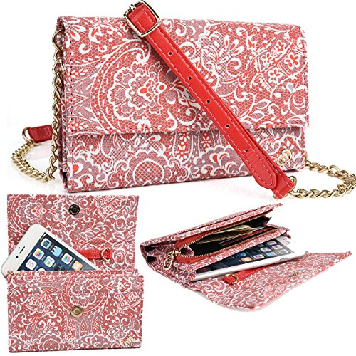 NuVur Red Large Women's Universal Lace Print Over the shoulder ::Card slots:: Wallet Smartphone Clutch Fits Prestigio MultiPhone 5430